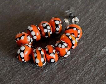 10 Orange Yellow Monarch Rounds ,Handmade Lampwork Bead Set by Beadfairy Lampwork, SRA
