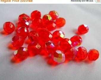 SALE 30% Off Hyacinth AB 8mm Round Fire Polished Glass Beads 25 Pcs