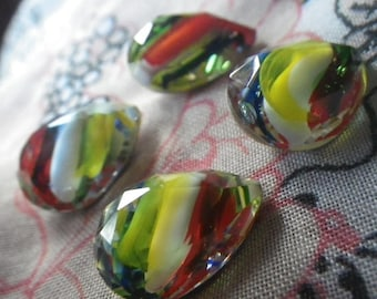 SALE 20% Off Red Yellow Blue Stripe Givre 18X13mm Pear Glass Gems Foiled 4 Pcs