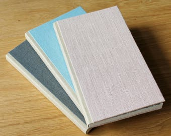 Tall Linen Notebook with Soft Covers and Gold Linen Spine