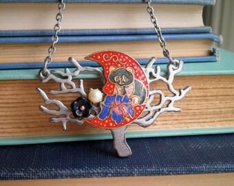 Vintage Enamel Panda Bear Moon Silver Tree of Life Pendant - Retro Cloisonne Boho Floral Panda Necklace - Animal Totem Bohemian Jewelry Gift