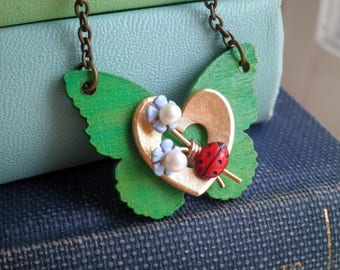 Wood Butterfly Heart & Forget Me Not Flower Necklace - Kelly Green Blue Floral Ladybug Garden Pendant - Nature / Insect Animal Jewelry Gift