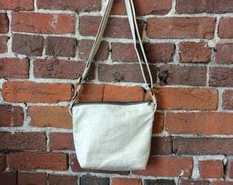 Linen Canvas Crossbody Bag - Zipper Closure Purse wirh adjustable strap