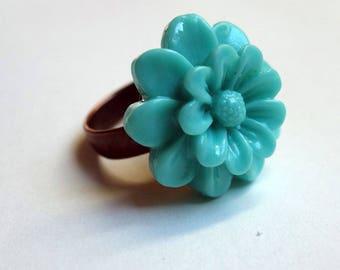 Grisette turquoise flower ring