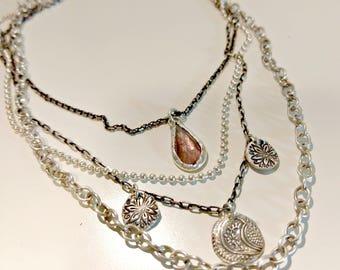 Tourmaline Gemstone Multi strand  necklace, Boho style strand necklace, Silver,  and Tourmaline Layered necklace