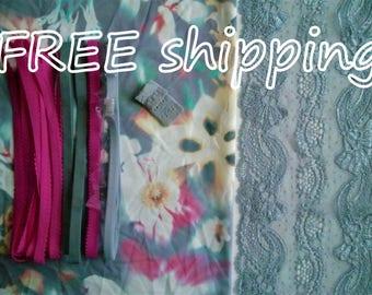 LINGERIE Kit Multicolor Flowers & Grey Lace for 1 BRA + Panty FREE Shipping by Merckwaerdigh
