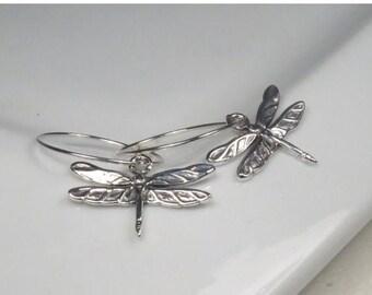 SALE - Silver jewelry, Silver dragonfly earrings, Sterling silver hoop earrings, Dragonfly jewelry