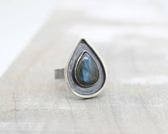 Labradorite Gemstone Sterling Silver Ring Band