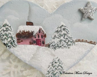 Winter in the Country Snowy Scene, Hand Painted Cottage Ornament, Snowflake, Acrylic Crystal Drop, Hand Designed, Gift Package Tie, ECS