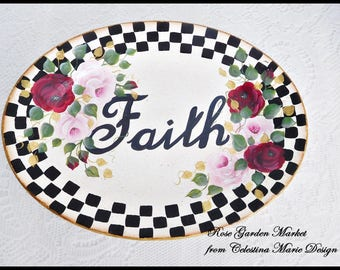 Stately Checked Vintage Oval Faith Platter, Hand Painted, Red and Pink Roses with Gold Accents, Display Only, Home Decor, Decorative, ECS