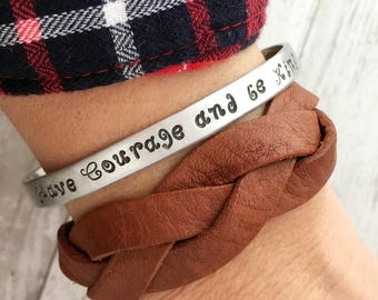 Have Courage and be Kind inspirational cuff bracelet set - Gift for daughter - Leather braid bracelet - From Cinderella the movie