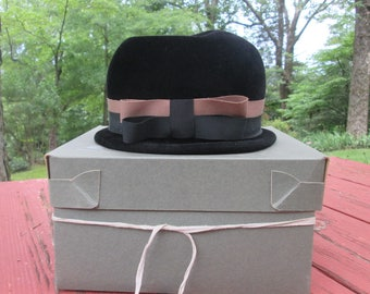 Vintage Ladies Black Hat - Sears Millinery - Velour With Grosgrain Ribbon Trim