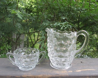 Fostoria American Milk Pitcher/ Creamer and Sugar Bowl - Crystal Glassware - Vintage Wedding