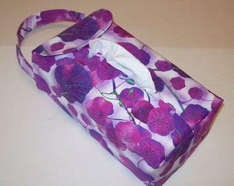 NEW!  Automobile Hanging Tissue Box Cover / Tissue Box Cozy / Automobile Accessory For Your Car / Violet Leaves