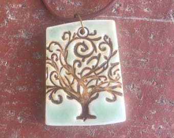 Celadon Green Tree of Life Porcelain Pendant