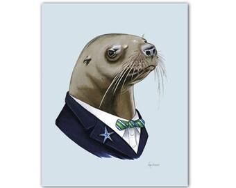 Sea Lion Gentleman art print 11x14