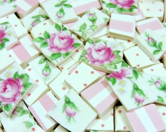 China Mosaic Tiles - SHaBBY CoTTaGE CHiC PiNK RoSeS - 100 Vintage Plate Tiles