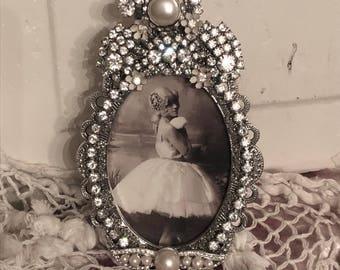 Vintage Jewel Clear Rhinestones & Pearl Photo Picture Frame OOAK Elegant Perfect for Weddings
