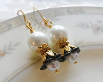 75% Off Clearance Sale, Lily Blossom Earrings, Gold Tone, Vintage Beads, Black and White