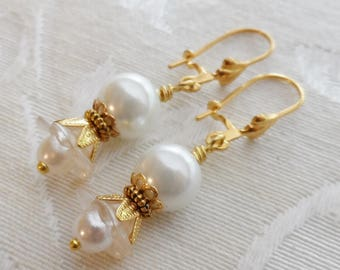75% Off Clearance Sale, Lily Blossom Earrings, Gold Tone, Faux Pearl, White