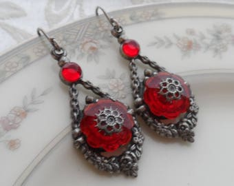 Sale 1/2 Price! Vintage Glass Earrings, Silver Ox, Dangle, Red, Ruby