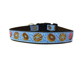1 Inch Wide Dog Collar with Adjustable Buckle or Martingale in Donuts Blue