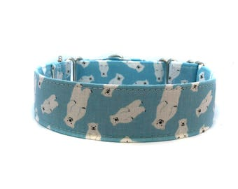 Wide 1 1/2 inch Adjustable Buckle or Martingale Dog Collar in Polar Bears