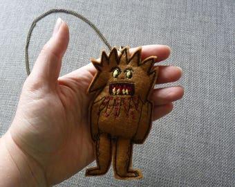Felt Lil' Monster Pendant long chain Necklace