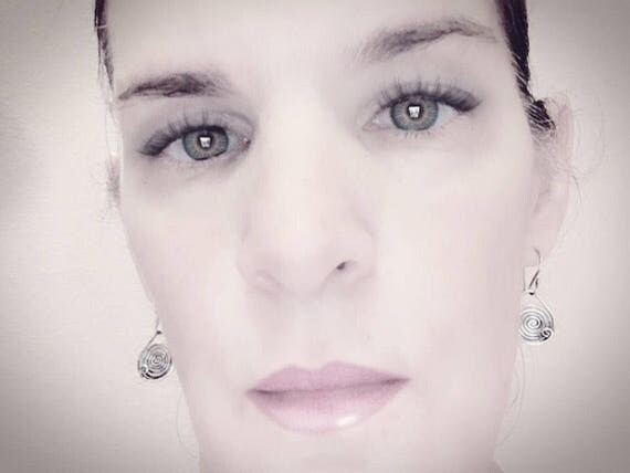 Spiral sterling silver drop earrings, dangel earrings, circle earrings, oxidized silver earrings, sterling silver earrings, gift for women