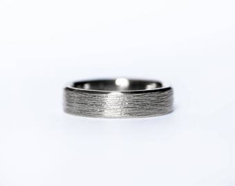 Mens brushed wedding band- 14k palladium white gold band ring-6mm