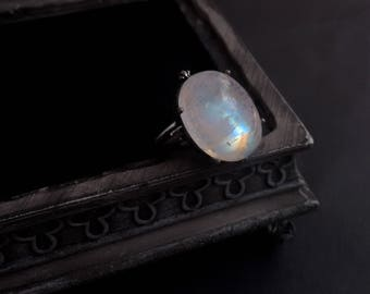 Rainbow Moonstone Ring Silver Oxidized Silver Adjustable Ring Moonstone Jewelry Witchy Jewelry