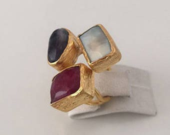 Triple Gold plated   Amazonite, İolite, Ruby ring