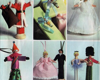 Vintage Clothespin Doll Christmas Tree Ornaments Sewing Craft Pattern McCall's 8131 Bride and Groom Santa, Soliders, Angels and More