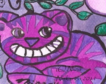 Cheshire Cat Alice In Wonderland ACEO Original Painting Watercolor Acrylics Illustration ACEO Painting Fantasy Fairy Tale Art