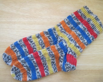 HAND KNIT SOCKS Adult Wool Primary Colors Stripe