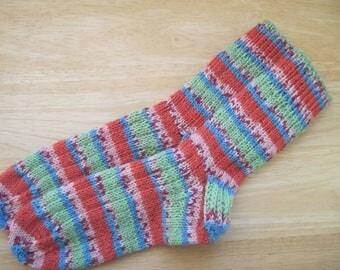 HAND KNIT SOCKS Adult Wool Tangerine Jacquard Stripes