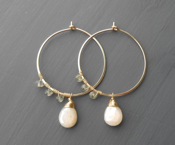 Beaded Gold Fill Gemstone Hoops