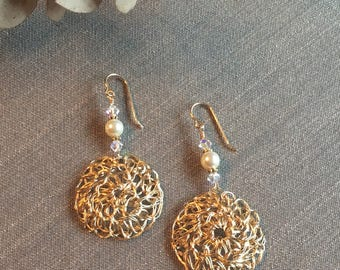 Wire Crocheted Pendant Earrings on Gold-filled Wires