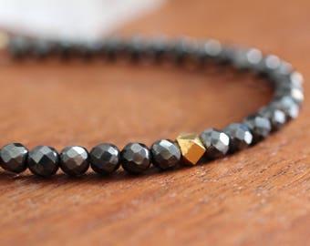 Hematite and Gold Stacking Bracelet. Beaded Gemstone Bracelet