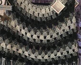 Crochet Poncho in Black and Gray
