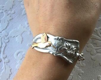 Humming Bird Tiger Lily Spoon Handle Bracelet