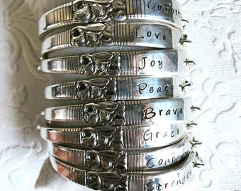 Morning Star Stamped Spoon Handle Word Bracelet of your choice