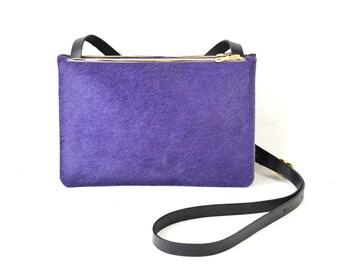 Colette - Handmade Purple Hair On Hide & Black Leather Shoulder Bag Purse AW17