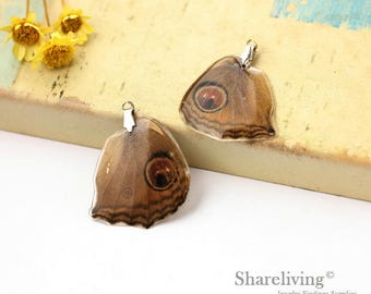 4pcs Handmade Real Butterfly Wing Charm / Pendant, Cover Resin with Silver Bail, Perfect for Earring / Necklace - RW003N