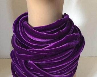 Violet Purple Velvet Rope Scarf Womens Gift
