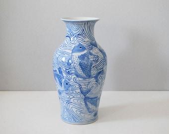 Porcelain Fish Vase, Blue White Koi Vase, Vintage Chinese Ceramics, Chinoiserie Asian Decor, Hand Painted Vase, Bohemian Boho Chic