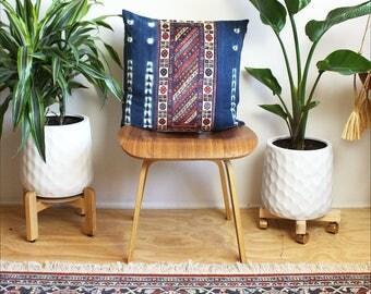 Kilim Pattern velvet, Vintage Indigo Tie Dye, Kilim Pillow Cover, Lumbar Pillow, 20x20, Rose Gold, Bohemian Decor, Tie Dye Pillow, Boho Home
