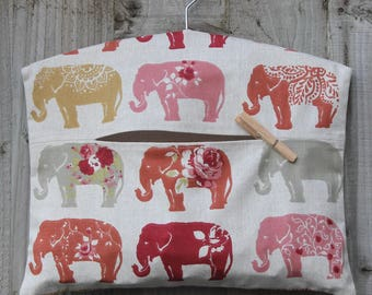 Clothespin Bag / Peg Bag in Autumn Elephant Print Fabric