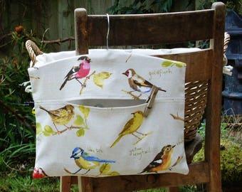 British Garden Birds Hanging Cotton Clothespin Bag / Peg Bag