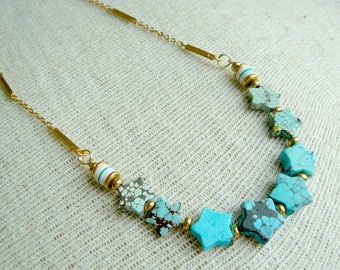 Dainty Turquoise Star Necklace- Dainty Necklace , Star Necklace